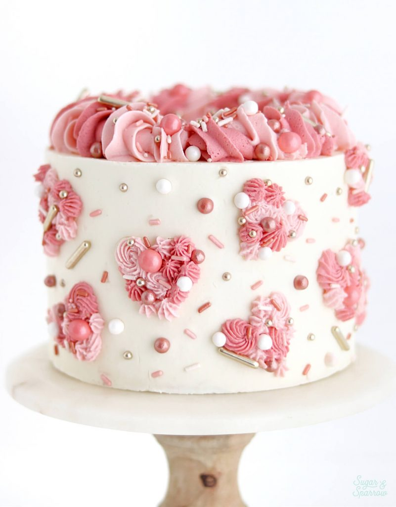 pink hearts valentines day cake