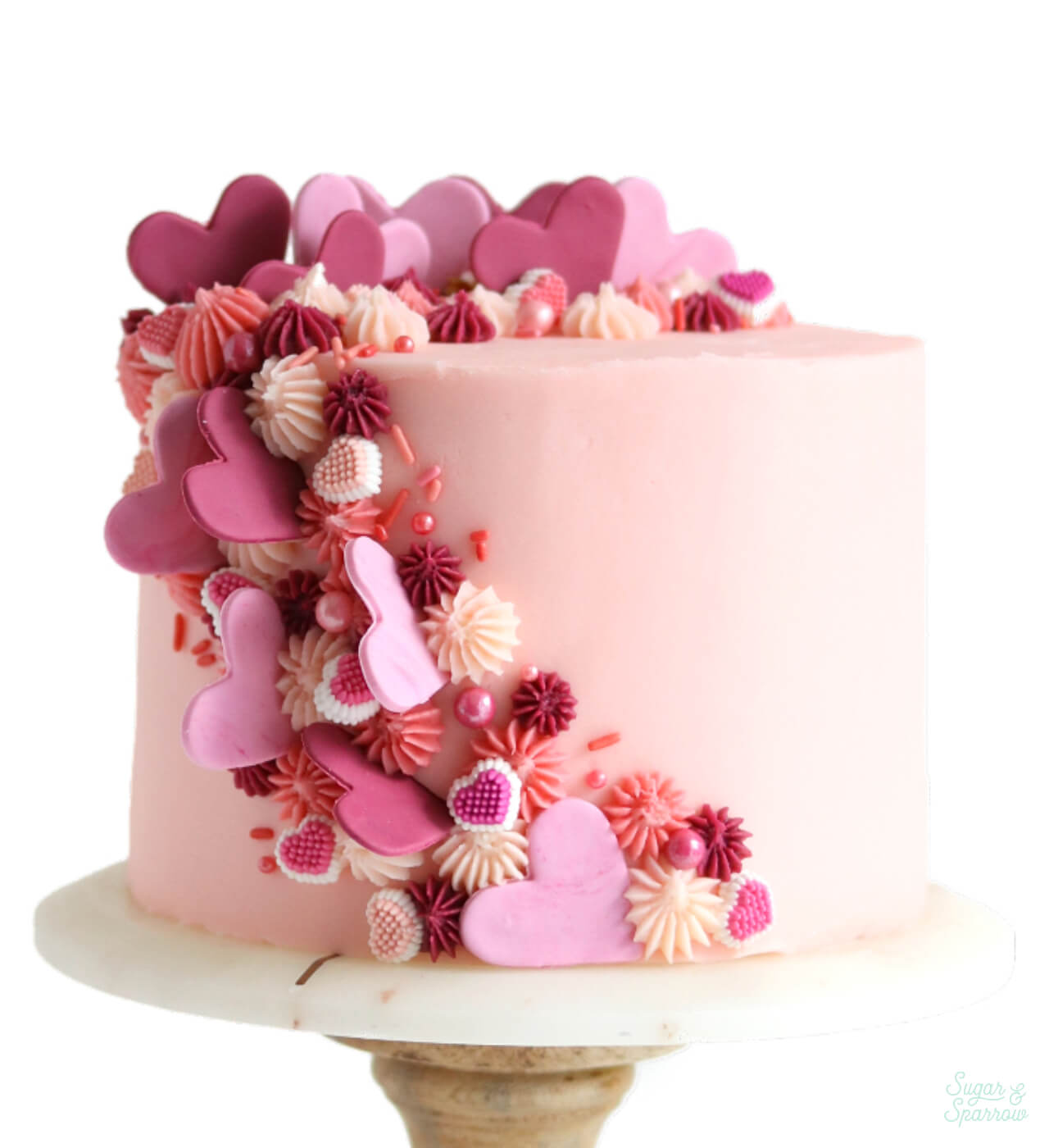 cascading heart cake by sugar and sparrow