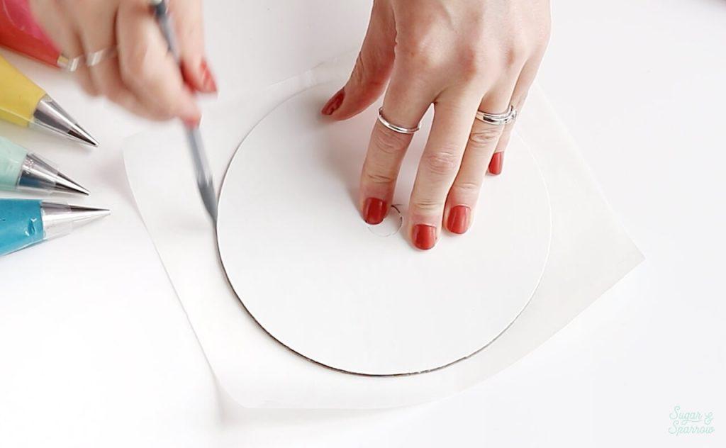 measure and cut parchment paper round