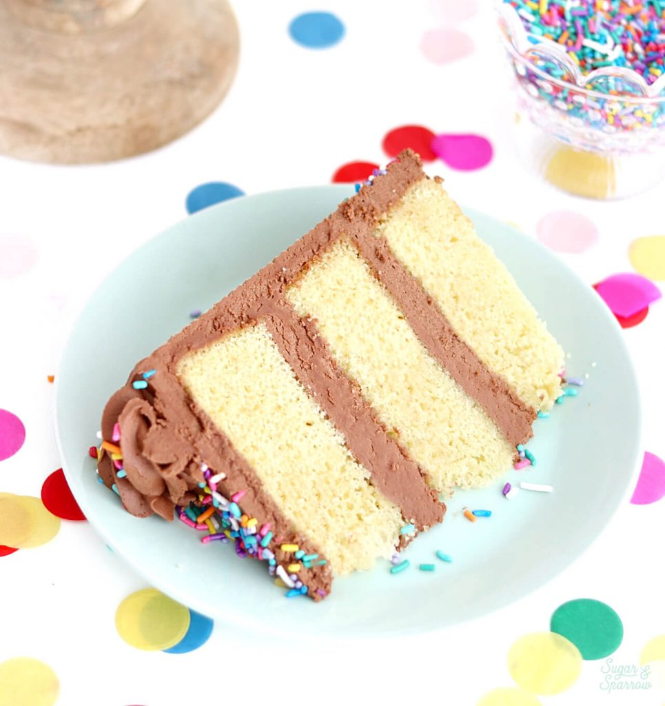 yellow cake recipe by sugar and sparrow