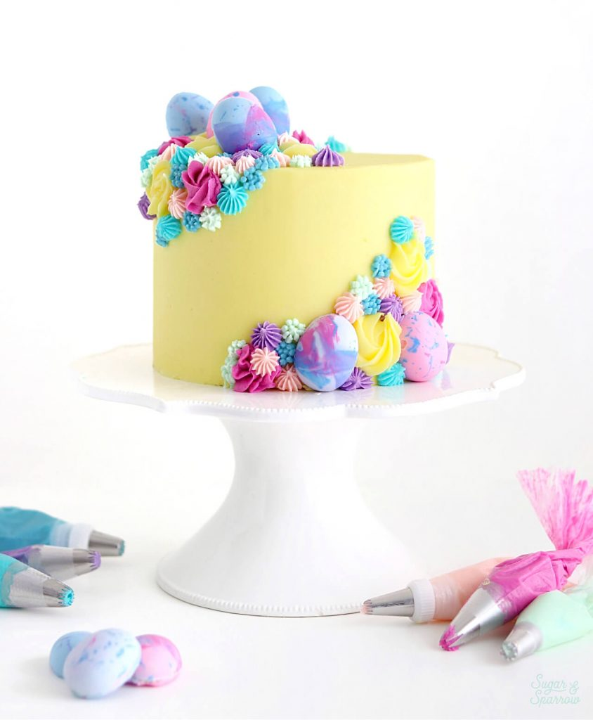 easter egg cake tutorial by Sugar and Sparrow