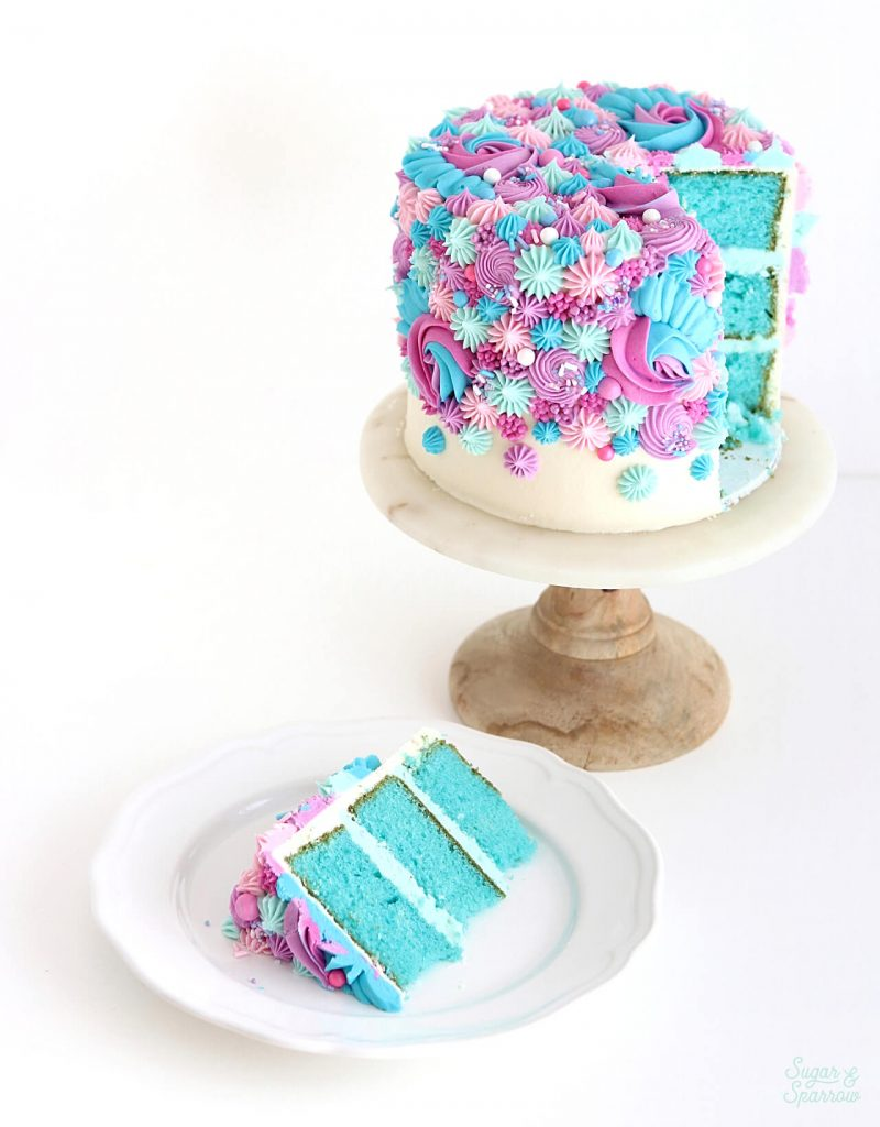 gender reveal cake by sugar and sparrow