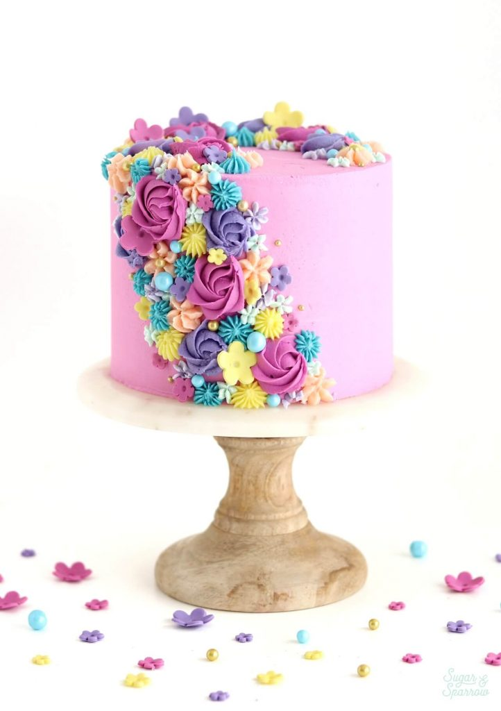 spring floral cake by sugar and sparrow