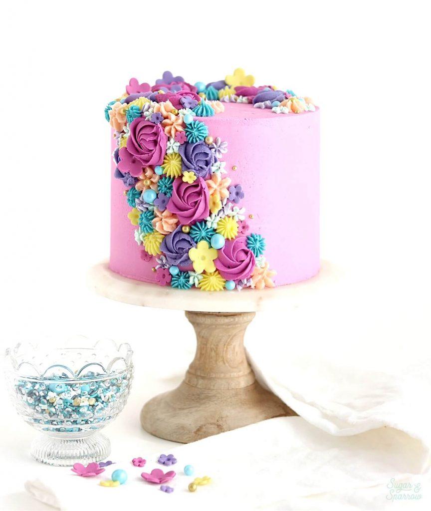 buttercream flowers cake tutorial