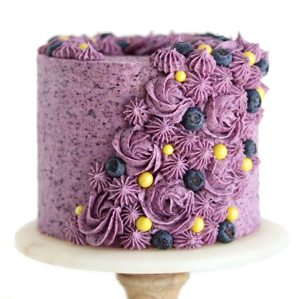 lemon layer cake recipe with blueberry buttercream