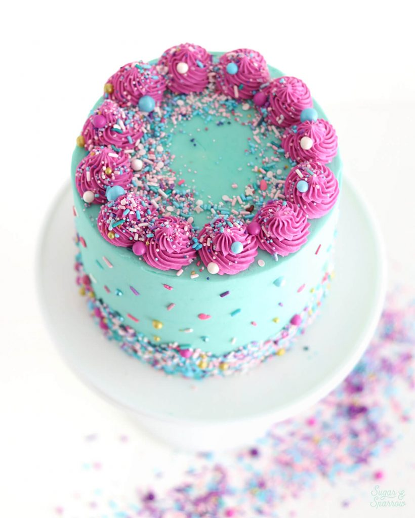 blue and pink cake by sugar and sparrow