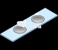 Aluminum 2 well glass slide perspective