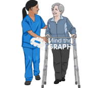 Elderly woman physical therapy