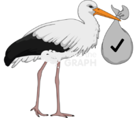 Stork carrying bundle with checklist