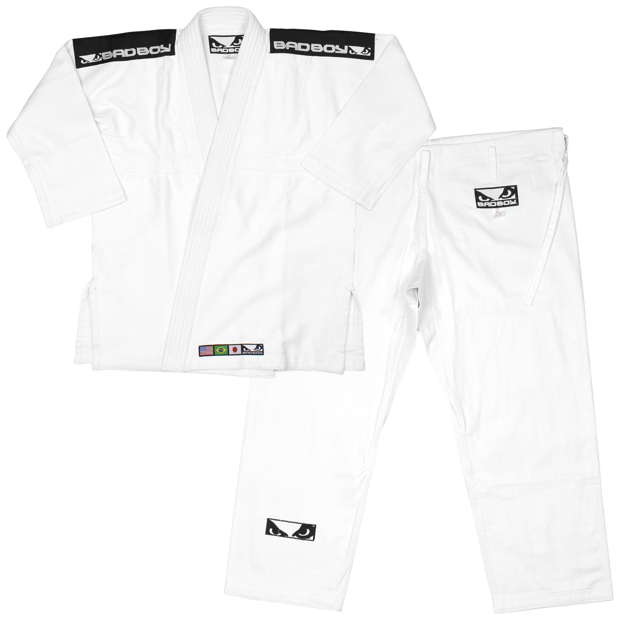 Bad Boy Mens Standard Jiu-Jitsu BJJ Single Weave Gi - White