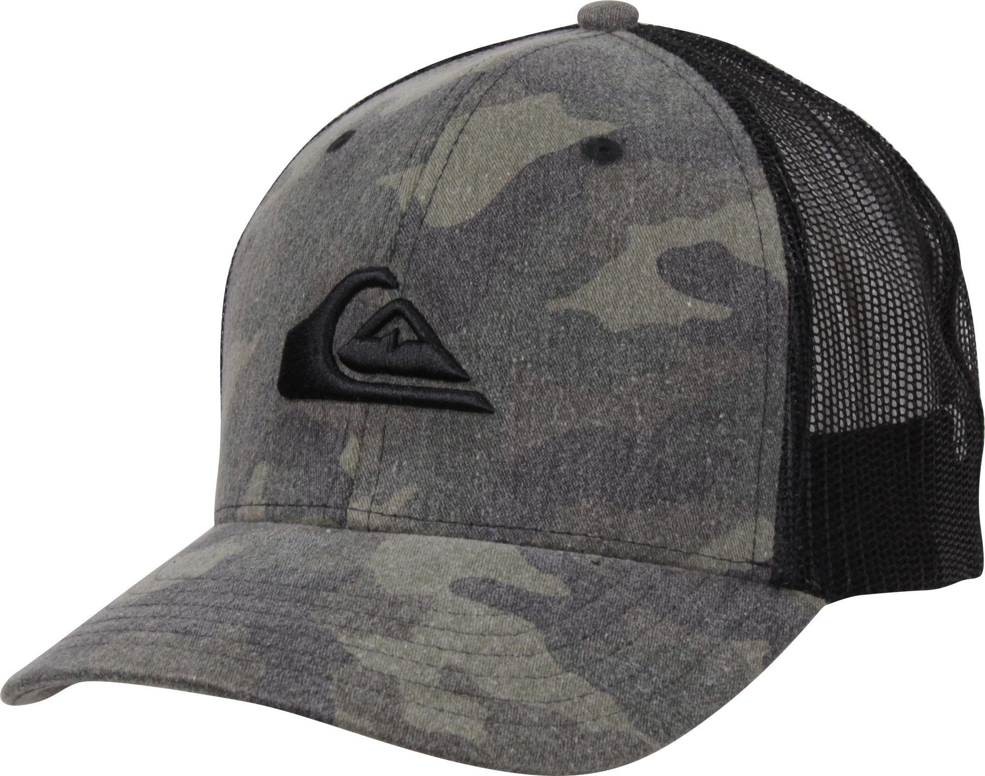 baa16ab68d7df Image is loading Quiksilver-Mens-Grounder-Snapback-Trucker-Hat-Camo-Black