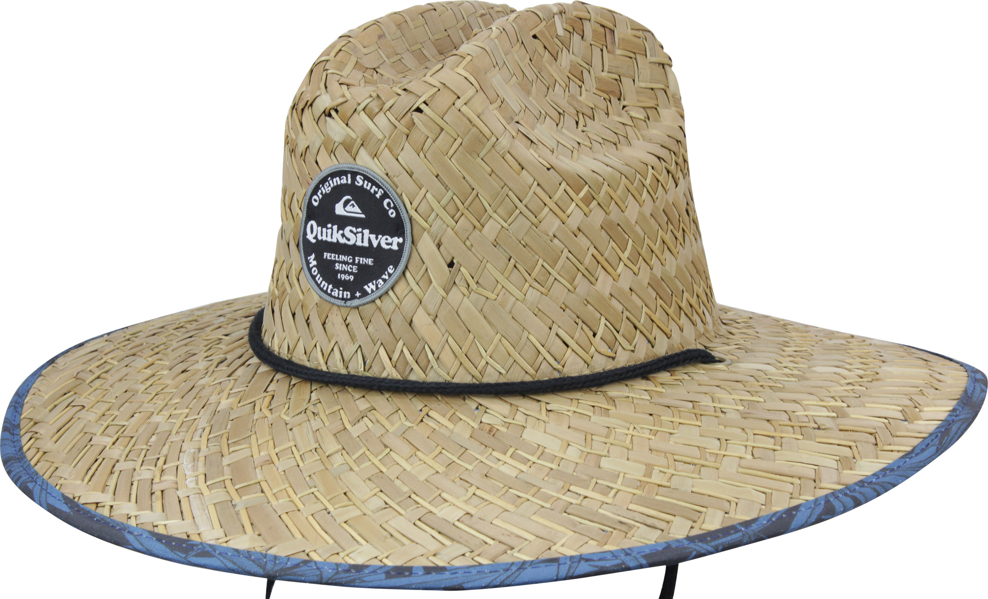 Quiksilver Mens Outsider Repent Wide Brim Straw Sun Hat - Straw Blue ... 18d0dc6d90b0