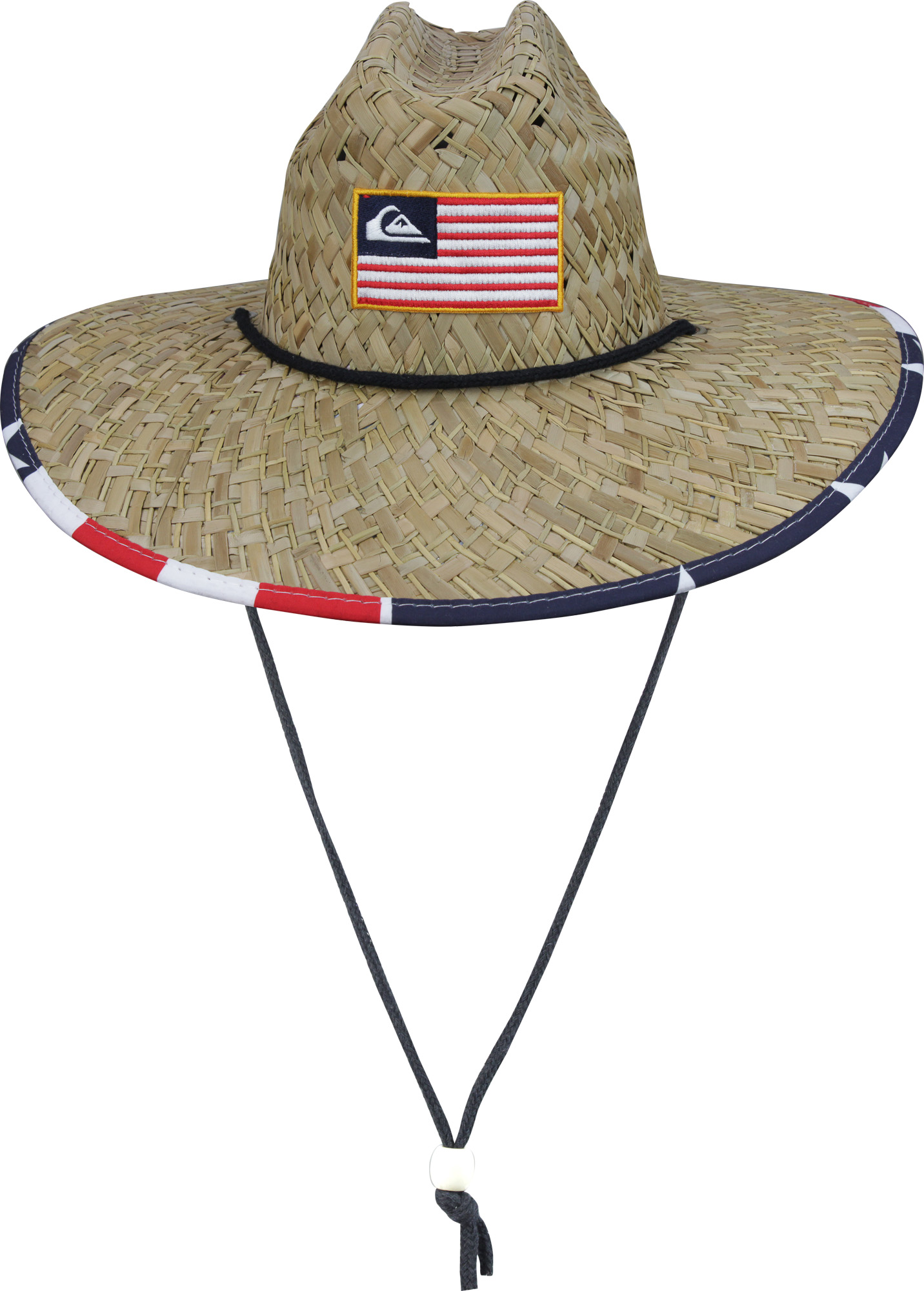 bf1864eba44 Details about Quiksilver Mens Outsider Merica USA Wide Brim Sun Hat - Straw