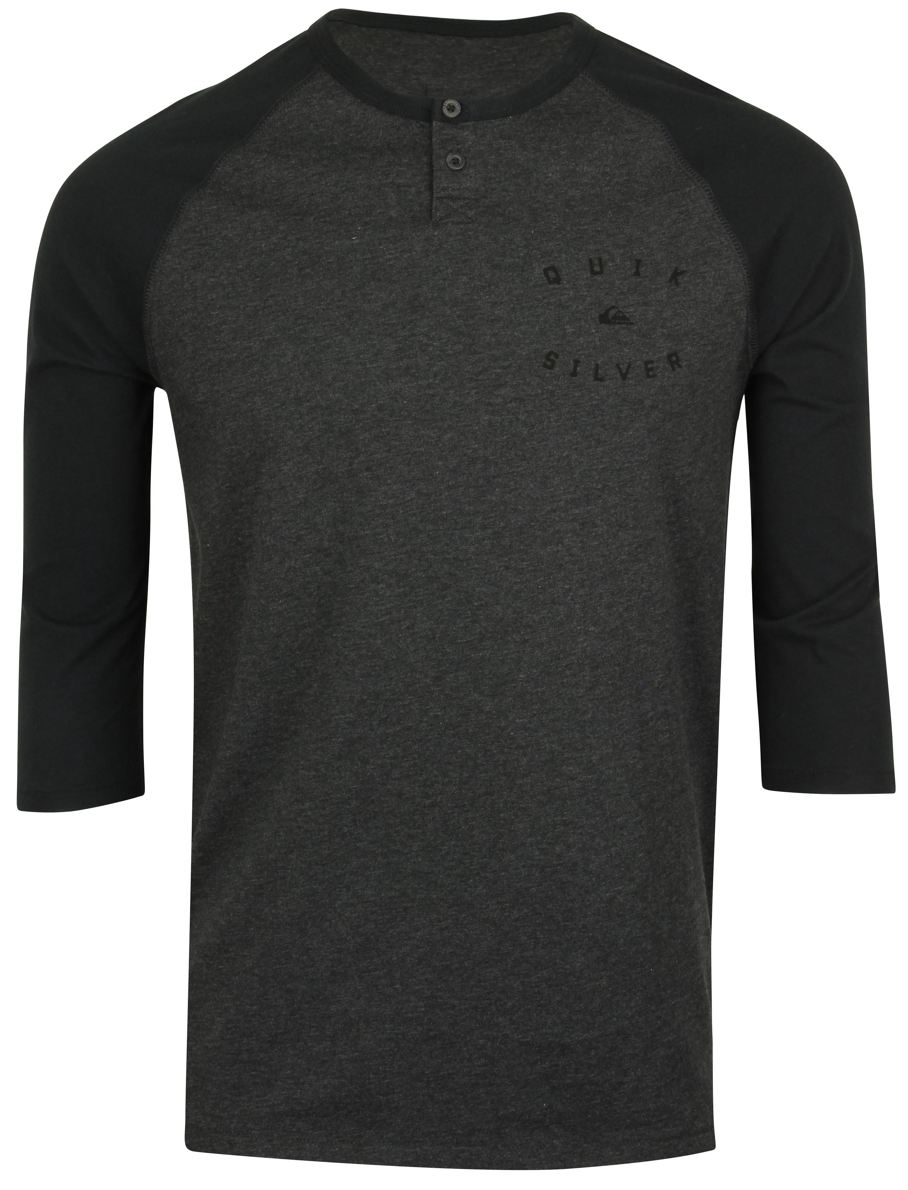 Quiksilver baysic 3 4 sleeve henley shirt dark gray heather for 3 4 henley shirt