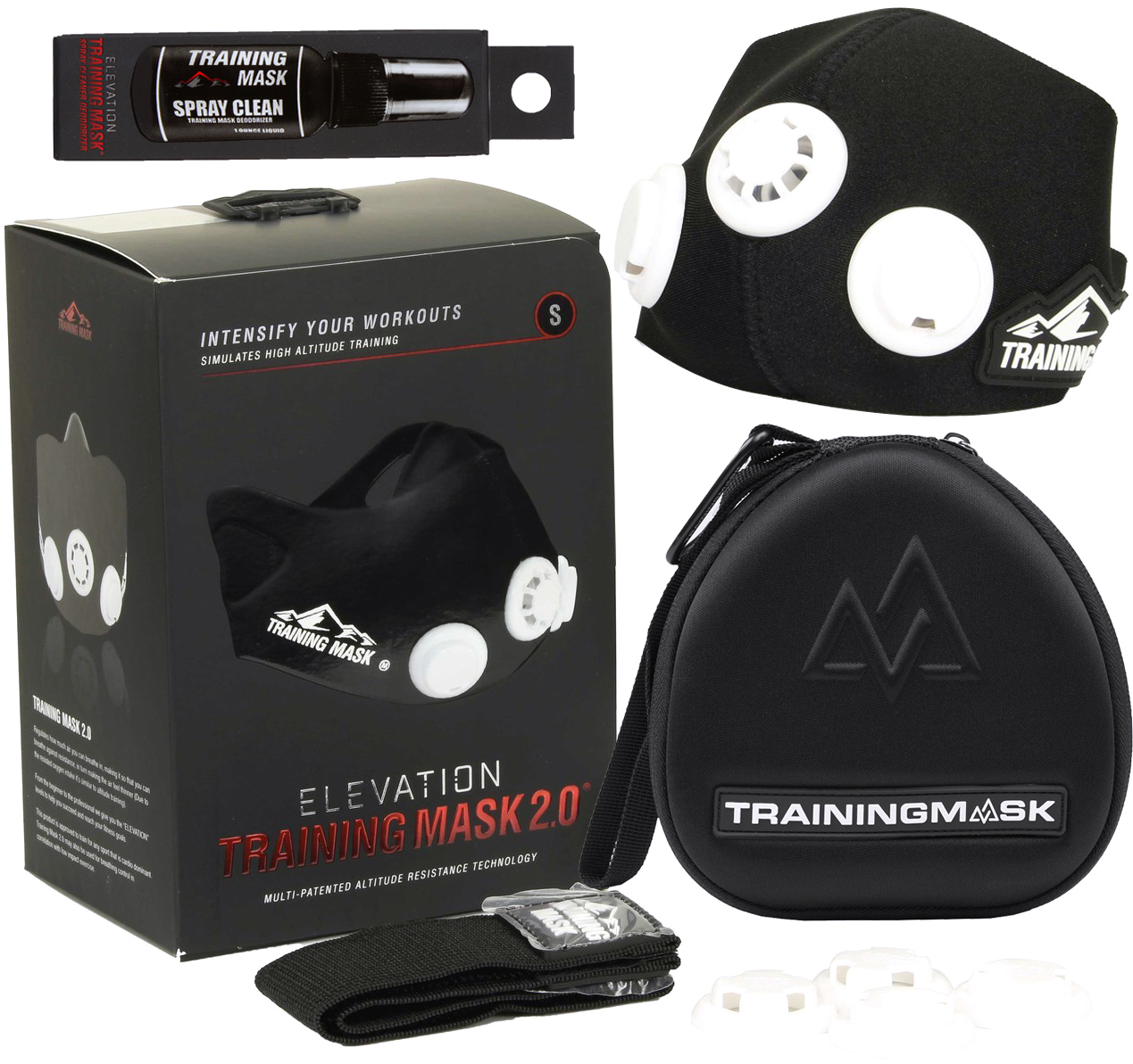 Increase Cardio Training Mask 2.0 Blackout Edition Cleaner- All Sizes Case