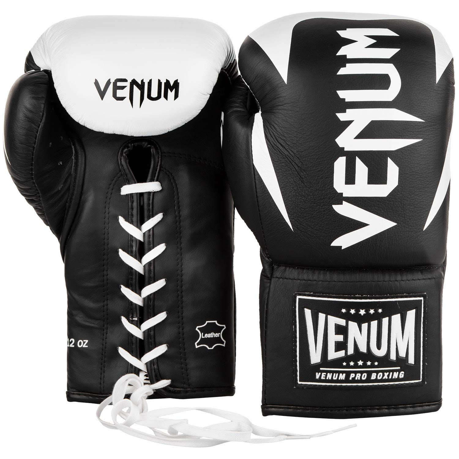 Details about venum hammer pro lace up leather boxing gloves black white
