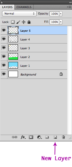 New Layer Button In The Layers Panel