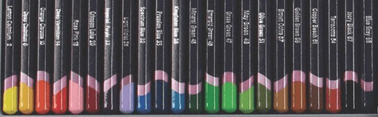 Each pencil in the pack is labeled with both the pencil squence number and the hue of the colour.