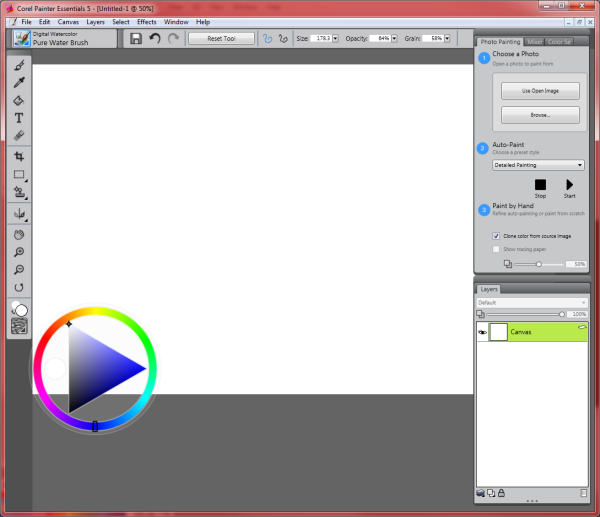 Corel Painter Essential User Interface
