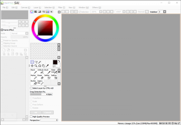 Paint Tool Sai User Interface