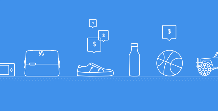 sketch of several commonly sold ecommerce items