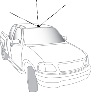 Antenna mounted on the roof of the truck
