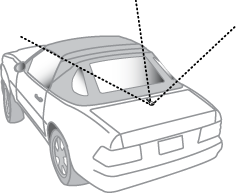 Antenna mounted on rear of vehicle