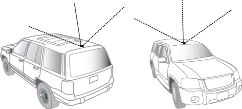 SUV with antenna mounted on either the front or back of the vehicle