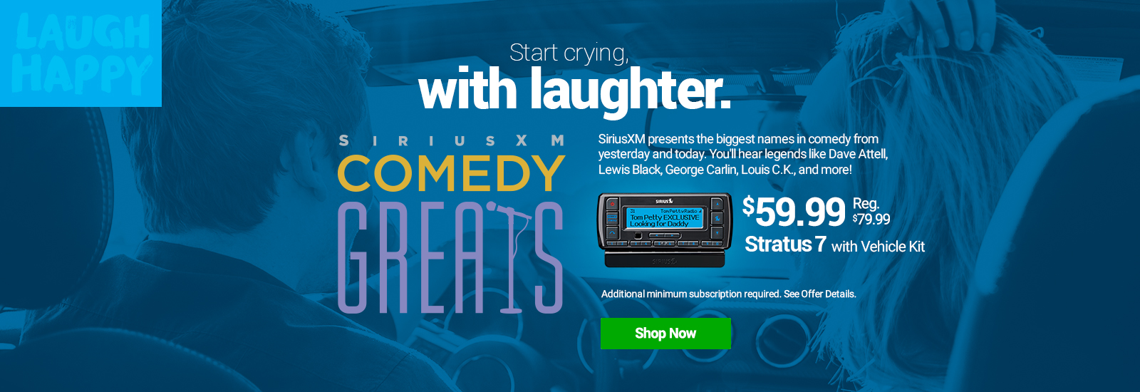 Hear Comedy Greats On SiriusXM with Stratus 7 with Vehicle Kit