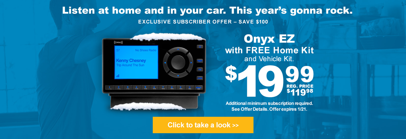 Listen at home and in your car- Onyx EZ with Free Home kit and Vehicle kit for $19.99