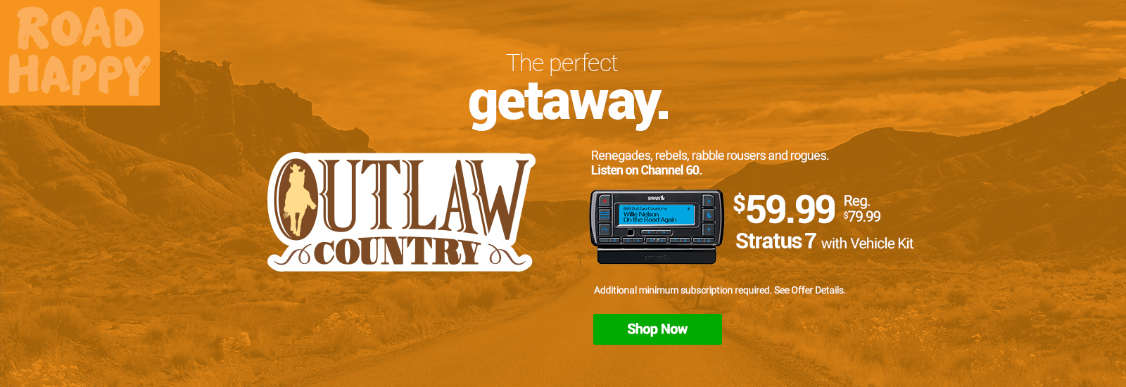 Hear all SiriusXM Country Music Stations with the Stratus 7 with Vehicle Kit