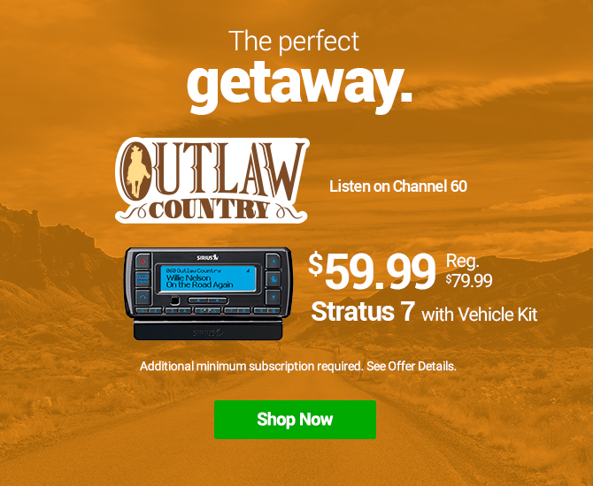 Hear all our Country Music Stations with the Stratus 7 with Vehicle Kit