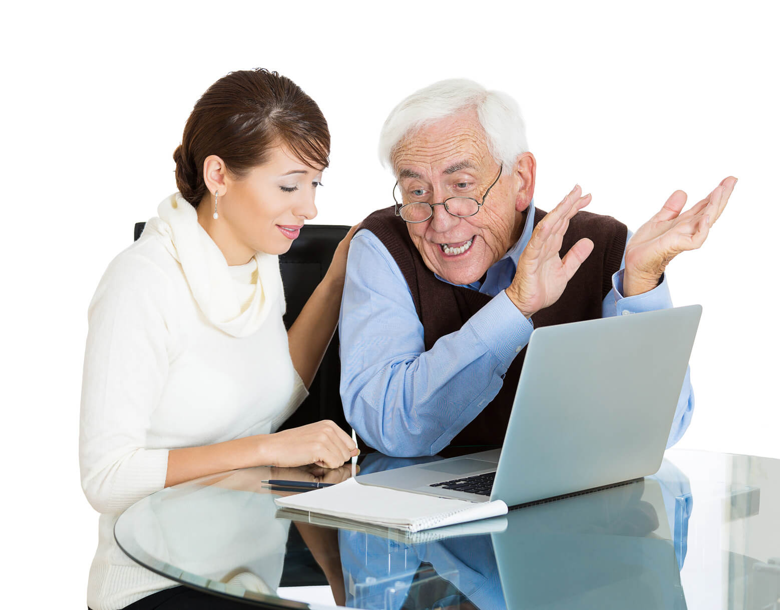 Mature man being show how to use laptop