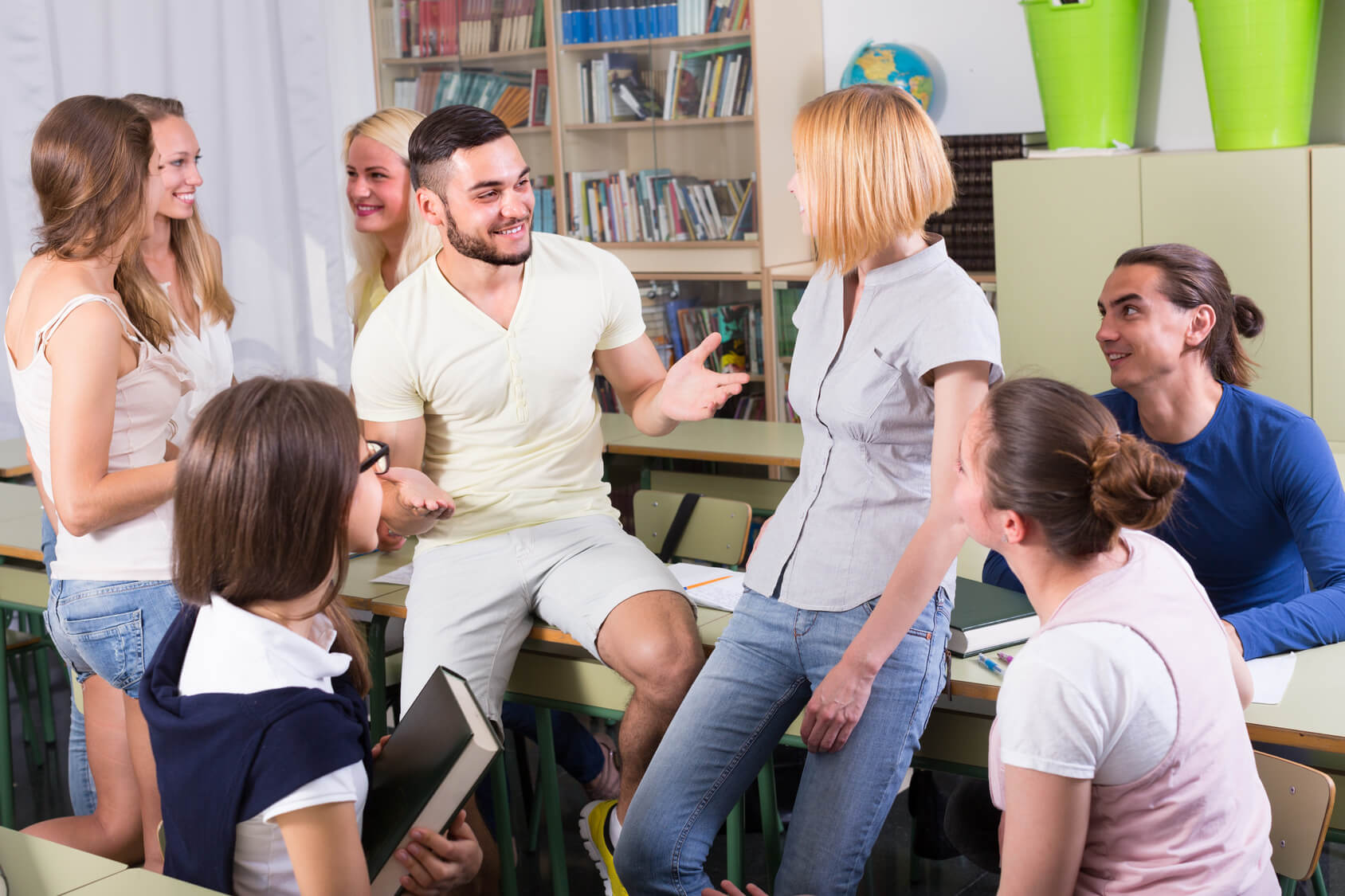 Student making conversation with others