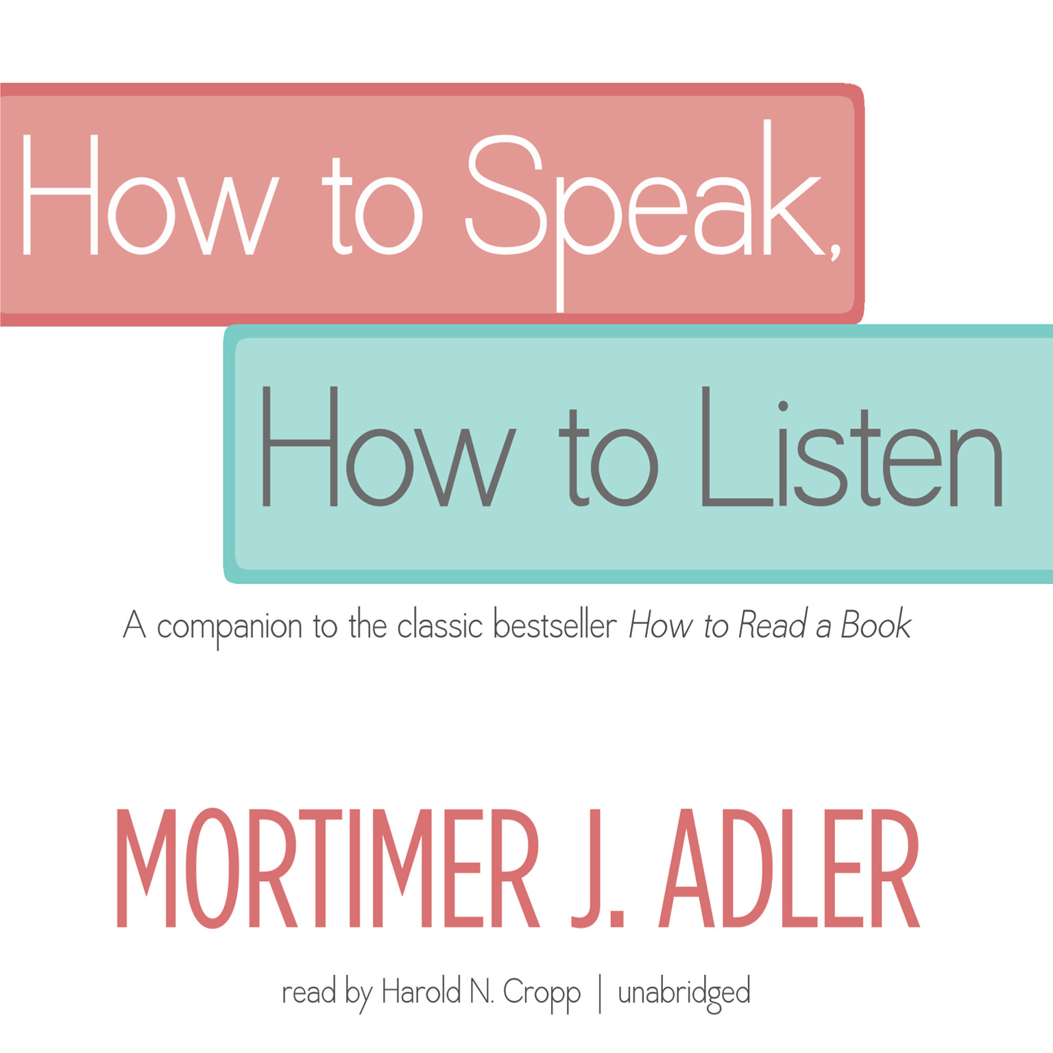 Printable How to Speak, How to Listen Audiobook Cover Art