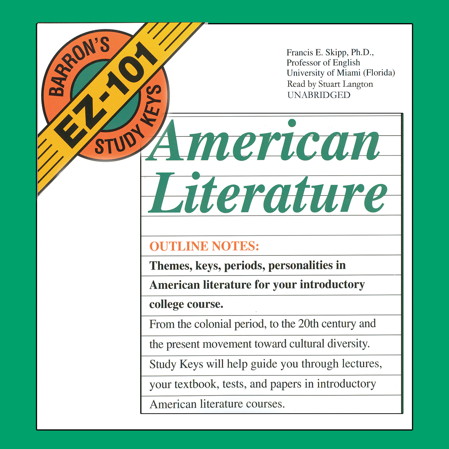 Printable American Literature Audiobook Cover Art