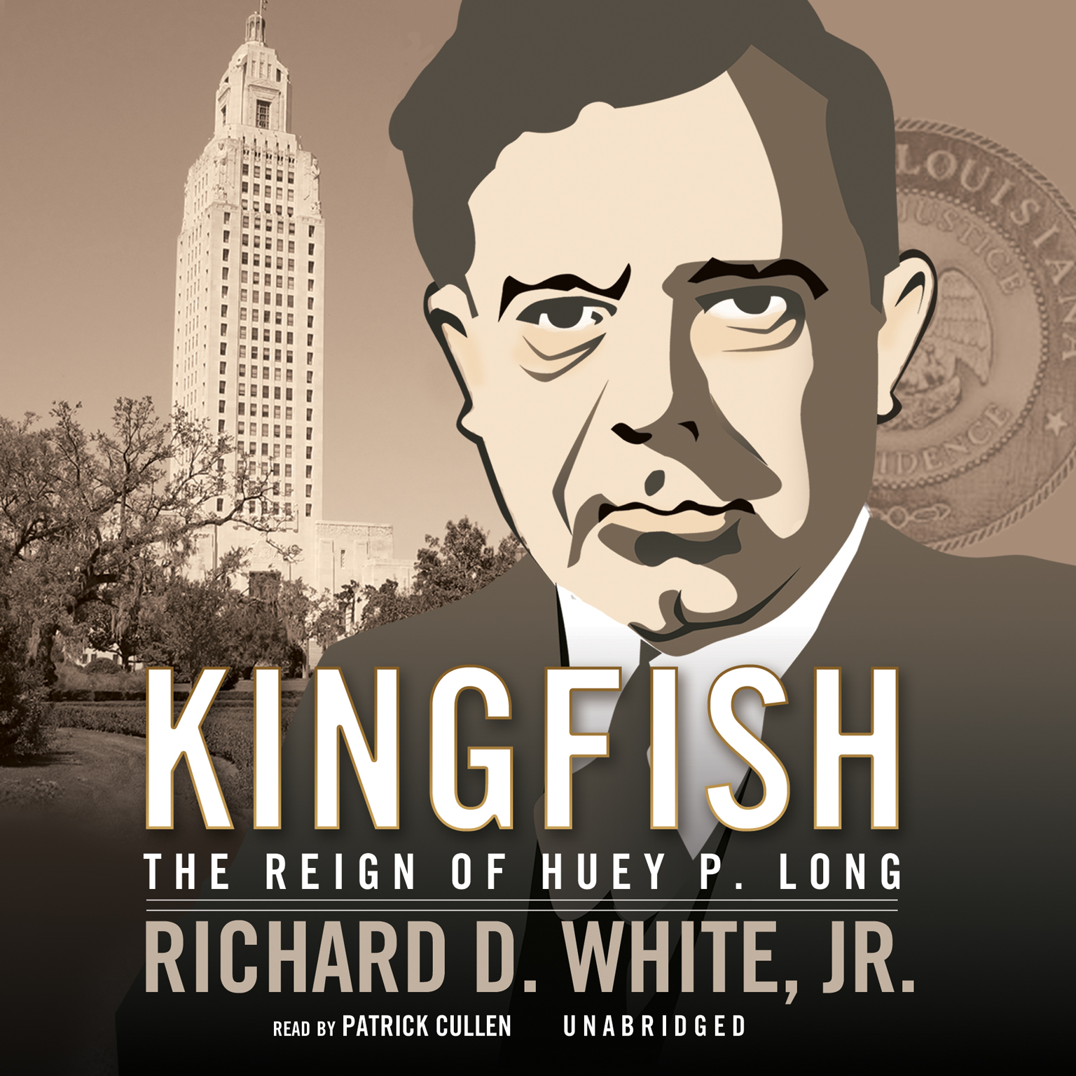 Printable Kingfish: The Reign of Huey P. Long Audiobook Cover Art