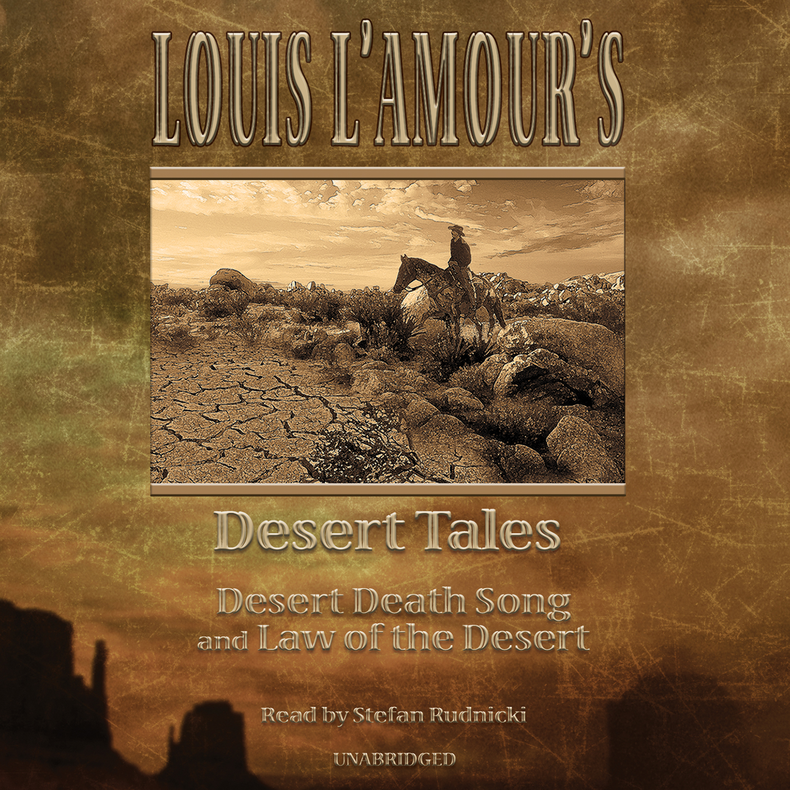 "Printable Louis L'Amour's Desert Tales: ""Law of the Desert"" and ""Desert Death Song"" Audiobook Cover Art"