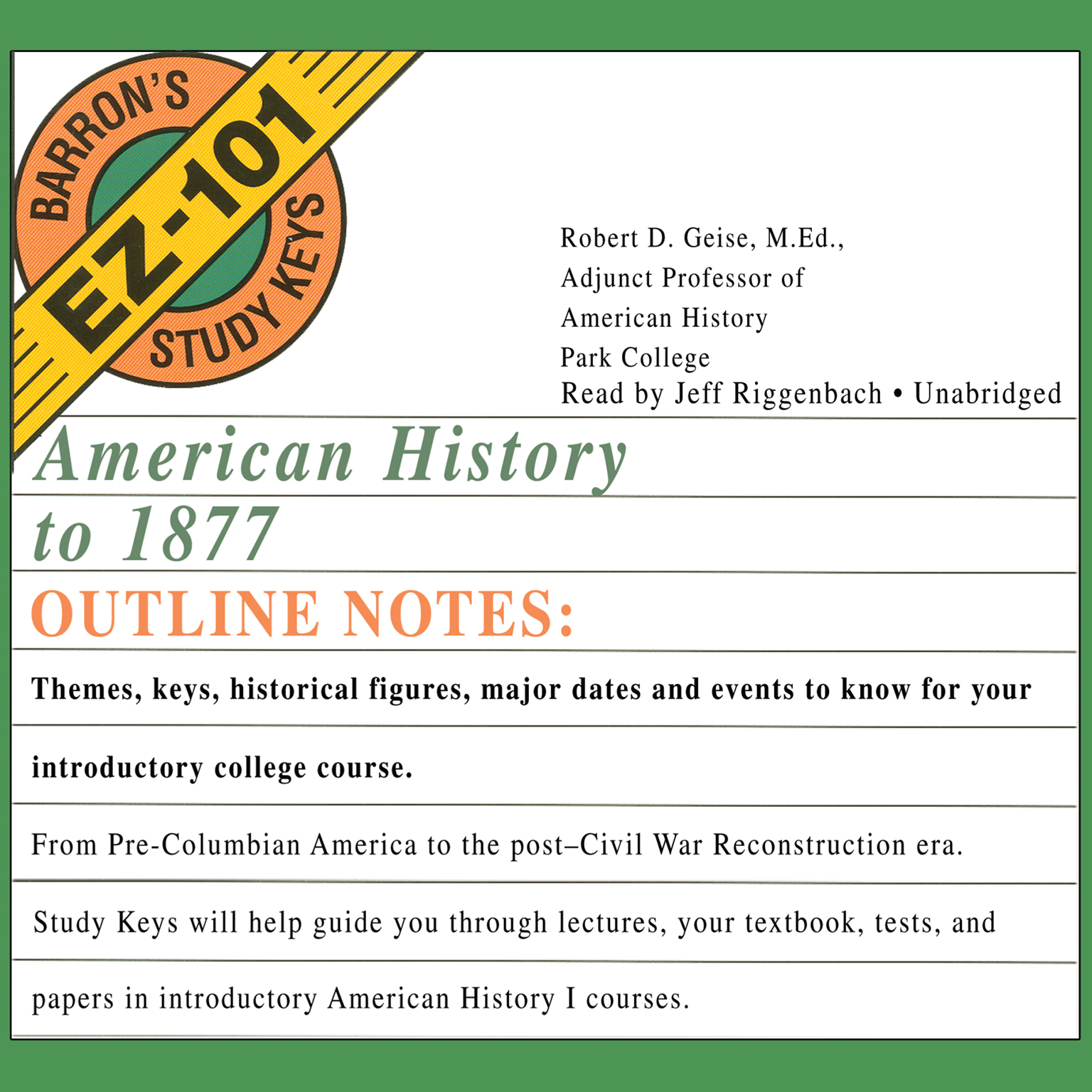 Printable American History to 1877 Audiobook Cover Art