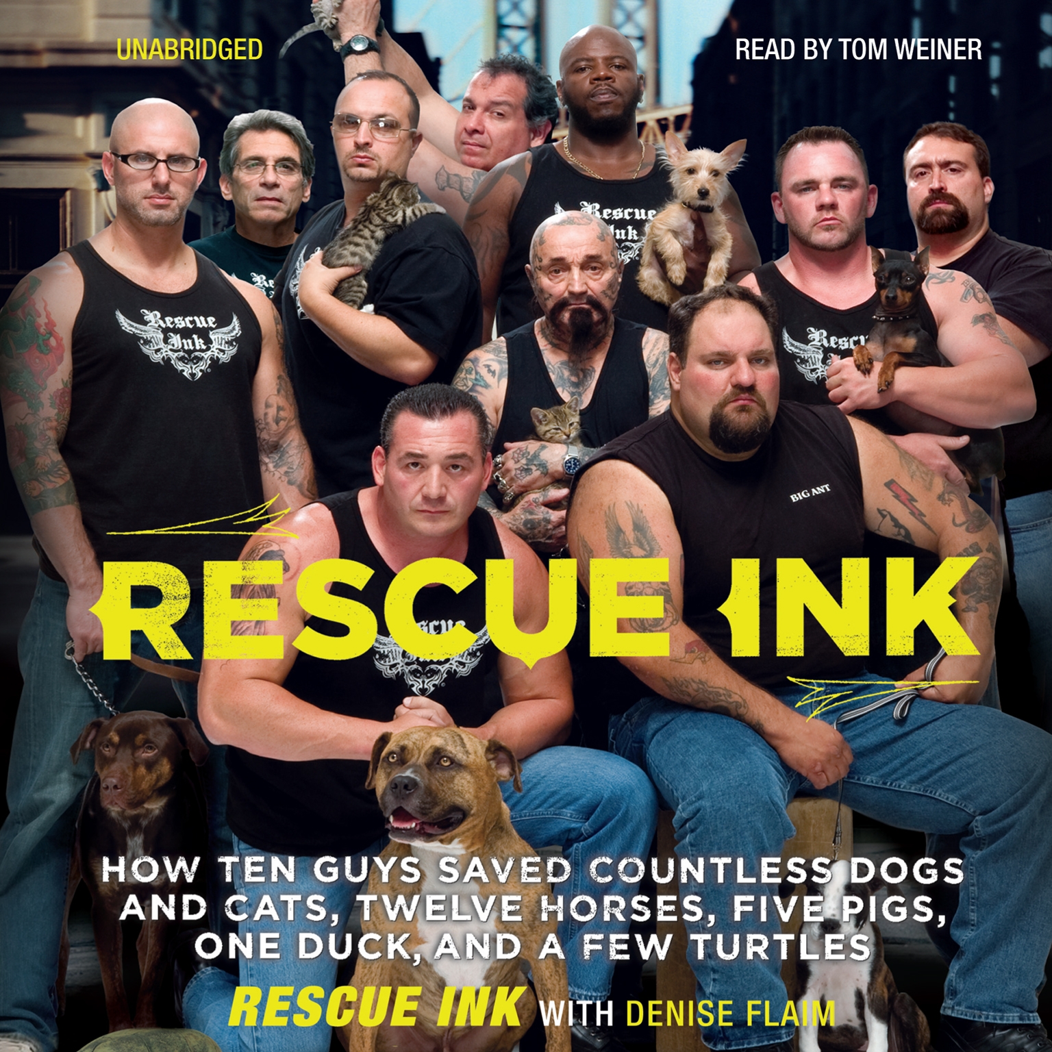 Printable Rescue Ink: How Ten Guys Saved Countless Dogs and Cats, Twelve Horses, Five Pigs, One Duck, and a Few Turtles Audiobook Cover Art
