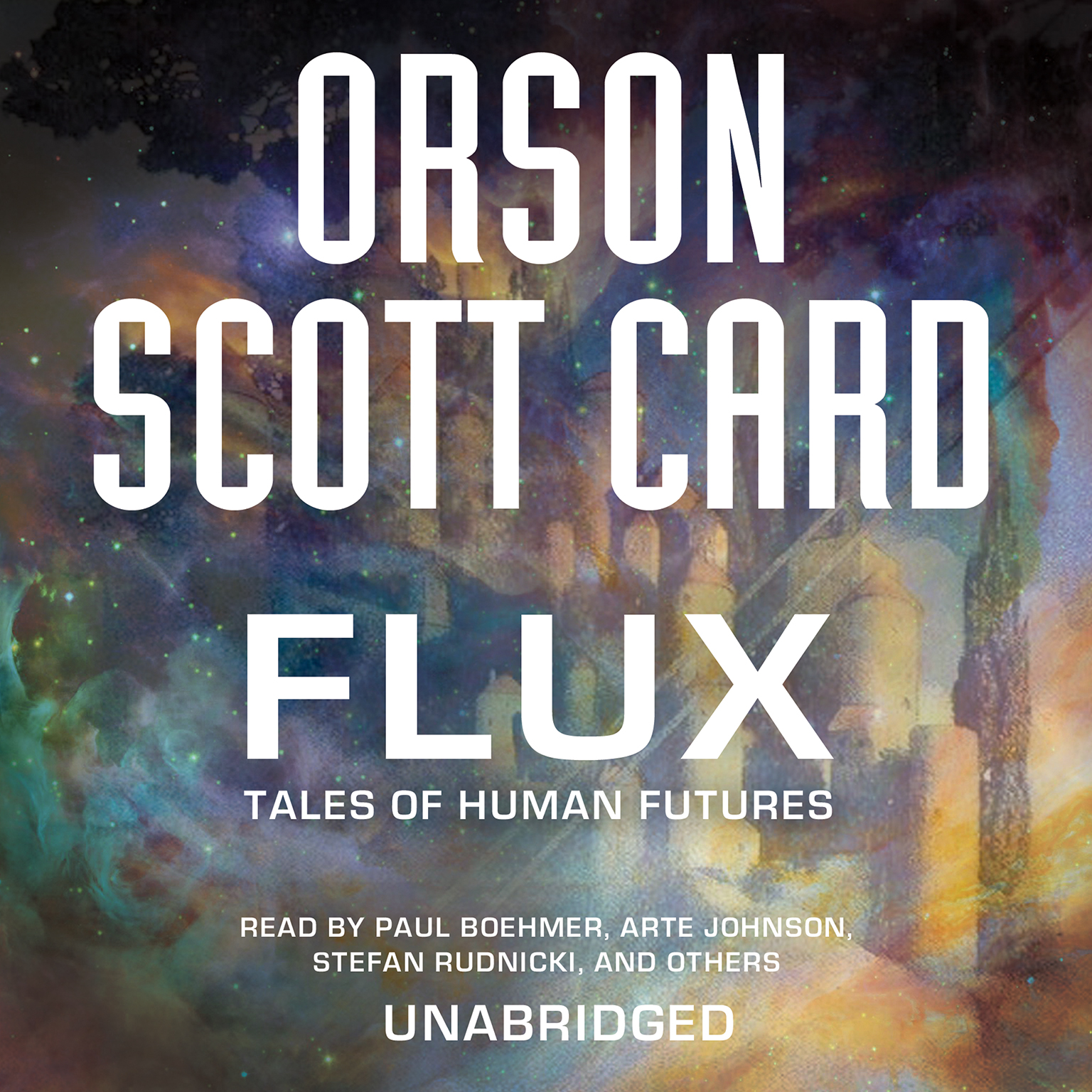 Printable Flux: Tales of Human Futures Audiobook Cover Art