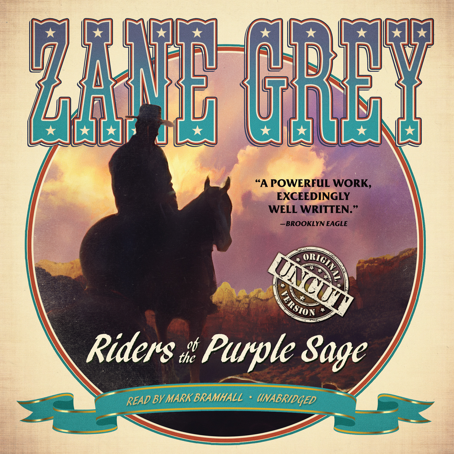 Printable Riders of the Purple Sage: The Restored Edition Audiobook Cover Art