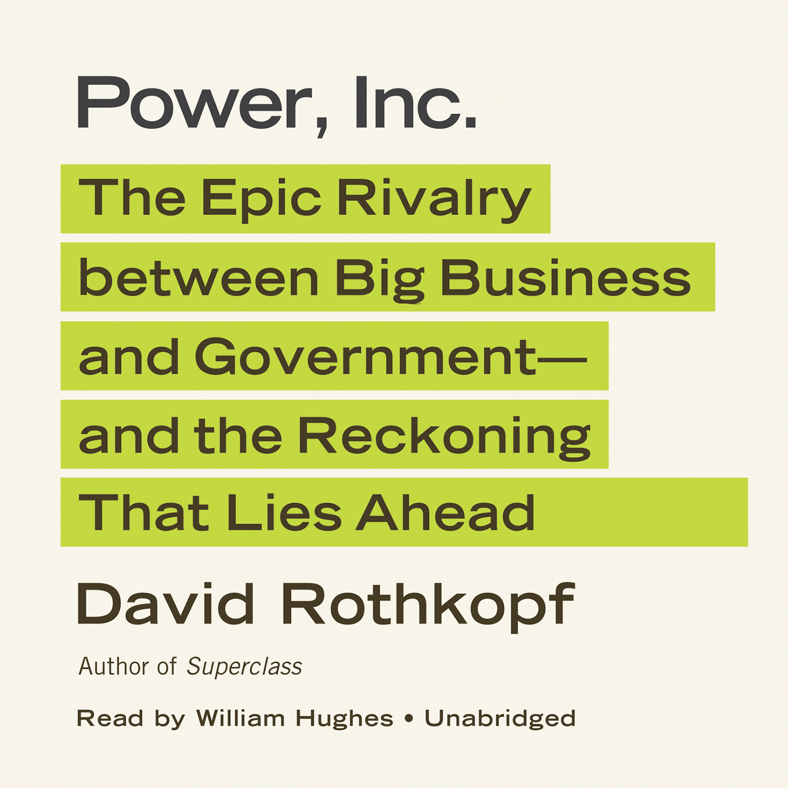 Printable Power, Inc.: The Epic Rivalry between Big Business and Government—and the Reckoning That Lies Ahead Audiobook Cover Art