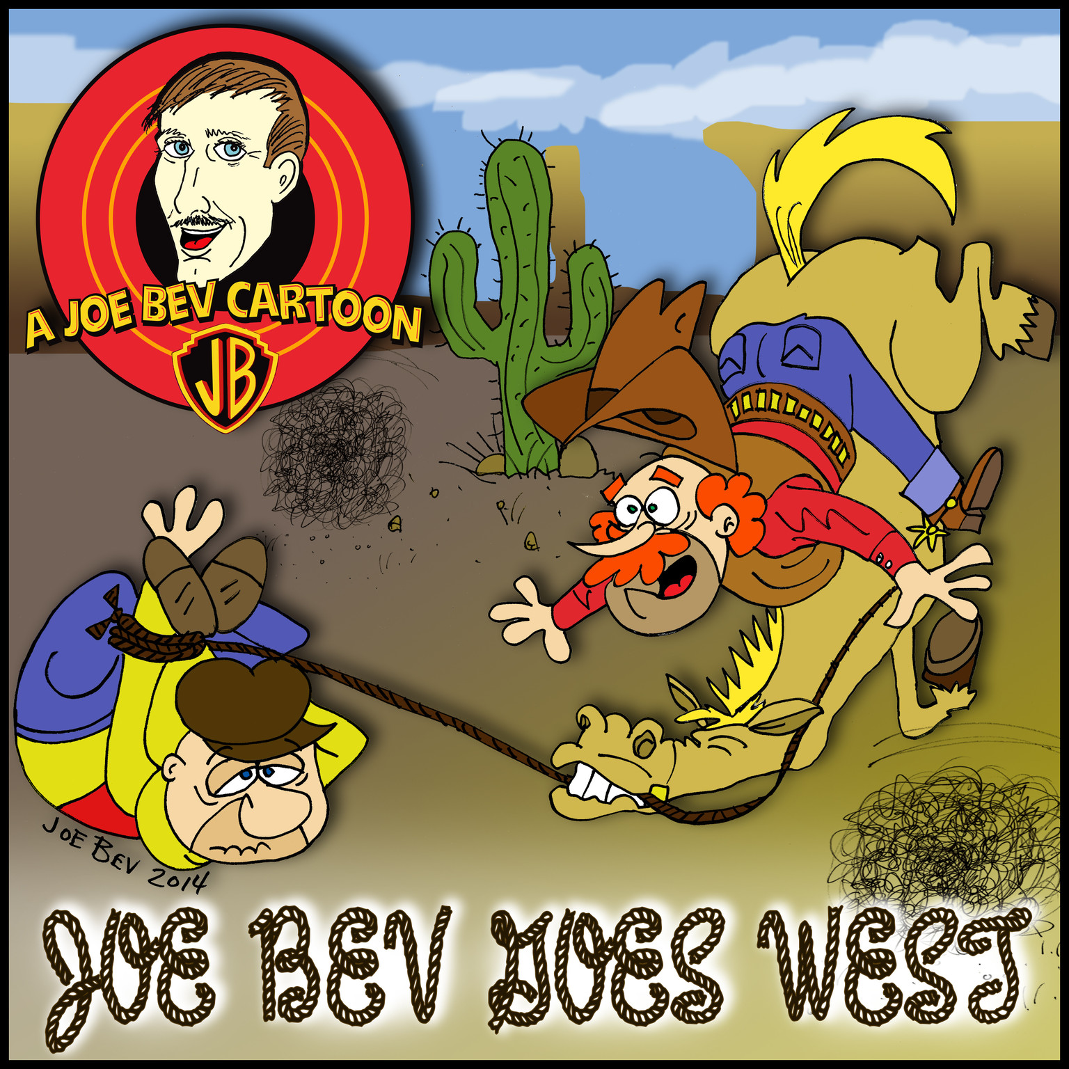 Printable Joe Bev Goes West: A Joe Bev Cartoon Collection, Volume 4 Audiobook Cover Art