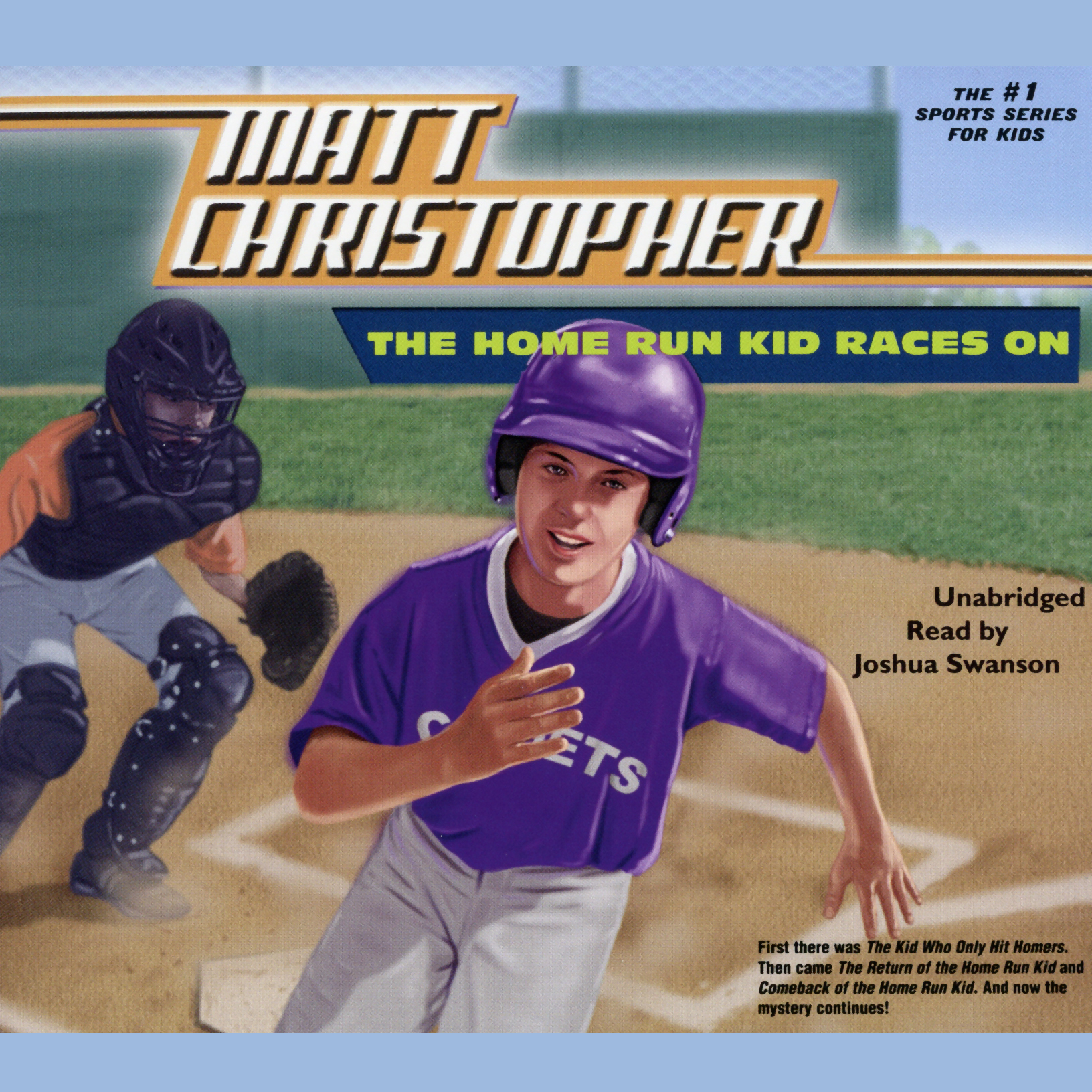 Printable The Home Run Kid Races On Audiobook Cover Art