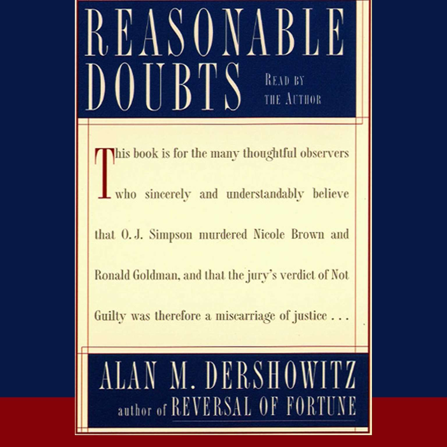 Printable Reasonable Doubts: The O.J. Simpson Case and the Criminal Justice System Audiobook Cover Art