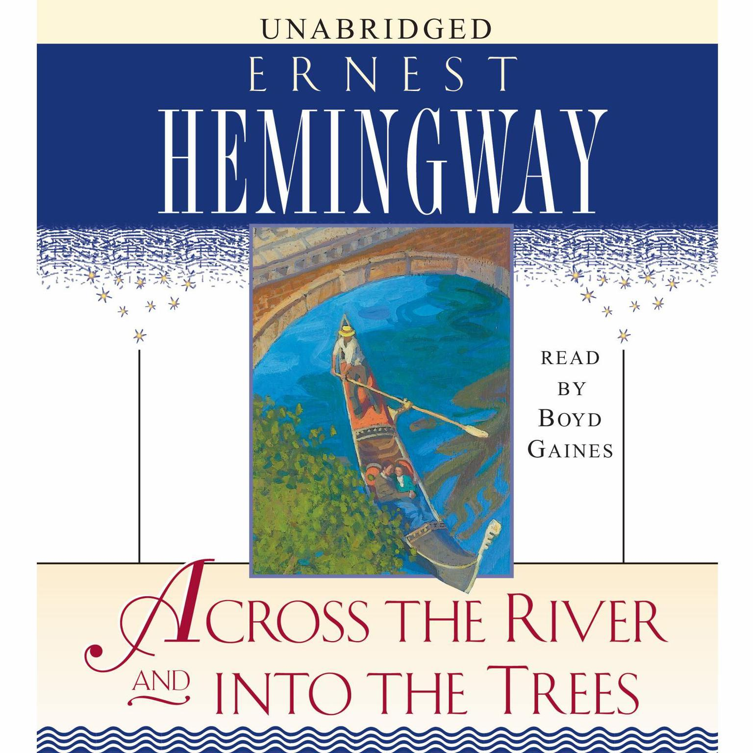 Printable Across the River and into the Trees Audiobook Cover Art