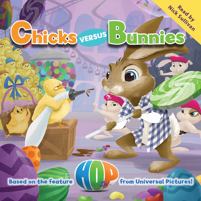 Printable Hop: Chicks versus Bunnies Audiobook Cover Art