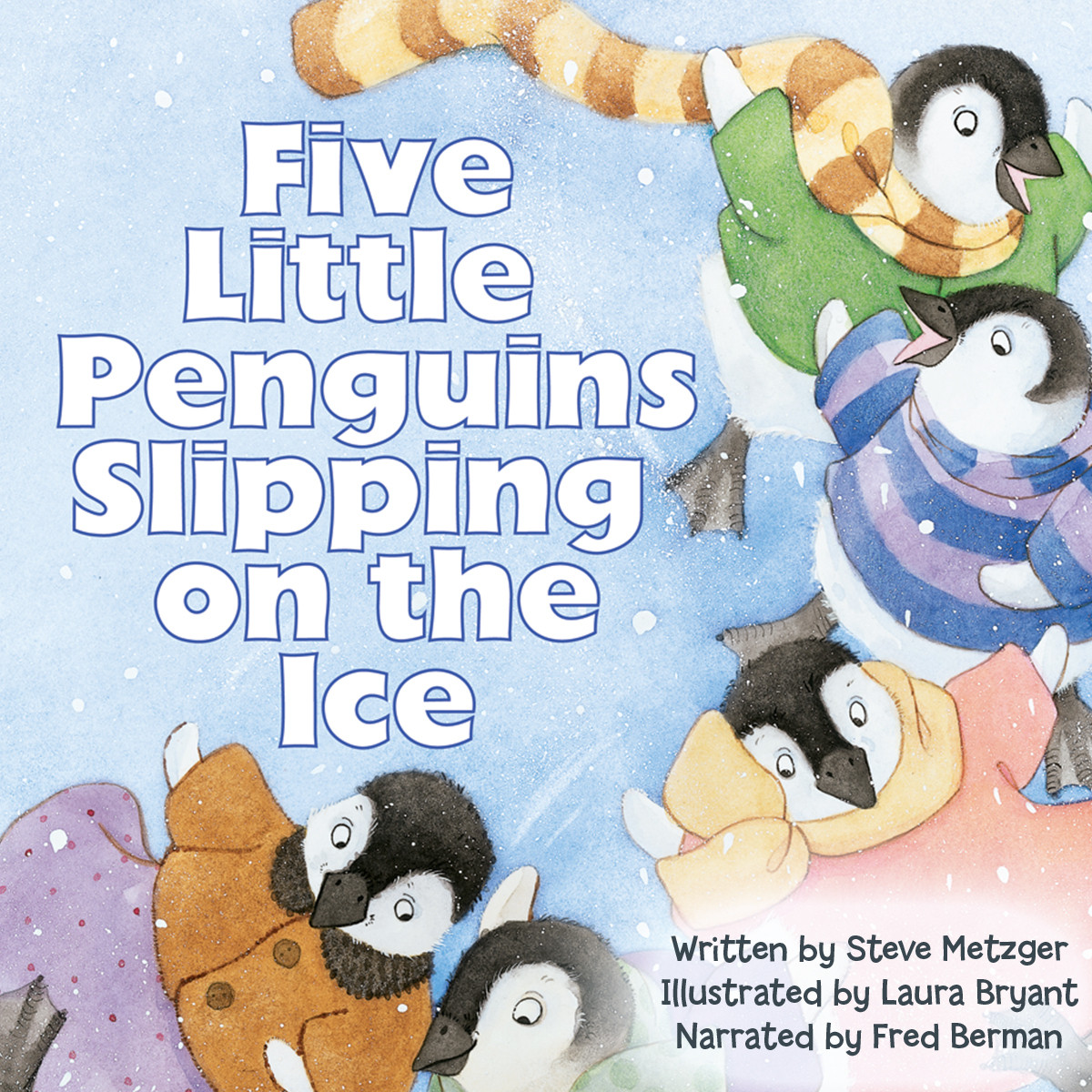 Printable Five Little Penguins Slipping on the Ice Audiobook Cover Art
