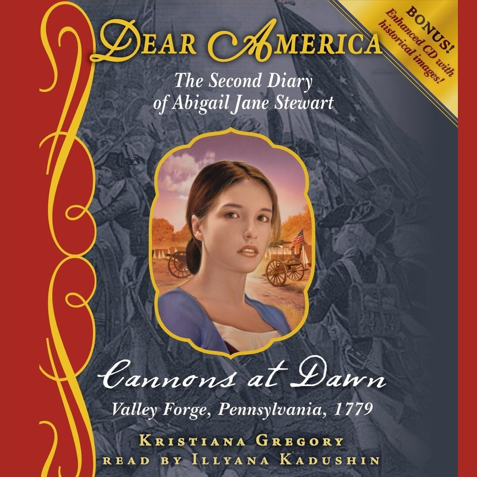 Printable Cannons at Dawn: The Second Diary of Abigail Jane Stewart, Valley Forge Audiobook Cover Art